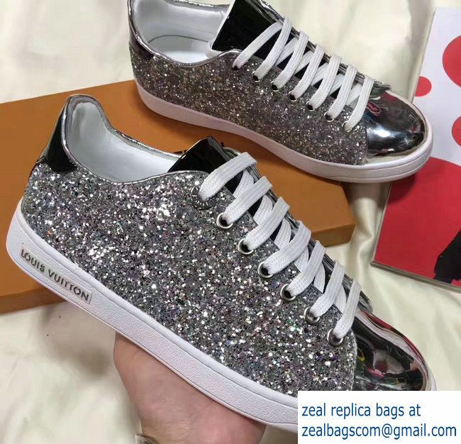 4de686ae839c Louis Vuitton Glitter Frontrow Sneakers 1A2XO7 Silver 2017 | Luxury ...