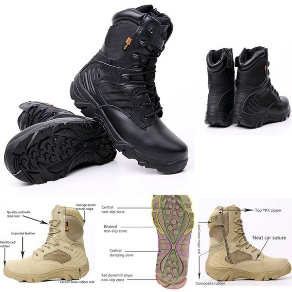 02205fa7d13 Delta Military Tactical Boots Leather Desert Outdoor Combat Army ...