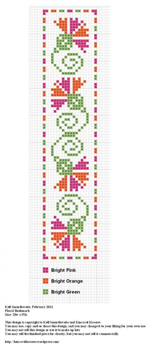 Cross Stich tassel Floral Bookmark
