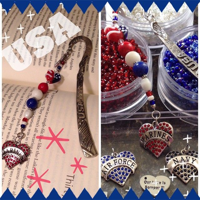 High quality  pewter metal  beaded bookmark  for  patriotic peeps.  Lampwork glass heart shaped bead with  Jade and Coral beads in red,white, blue colors.  Awareness ribbon in US flag design. Can change  Marines heart charm to Navy, Airforce or any of my silver tone charms: Army wife, Our love is semper fi, combat boot, and many more. $30 includes US shipping.