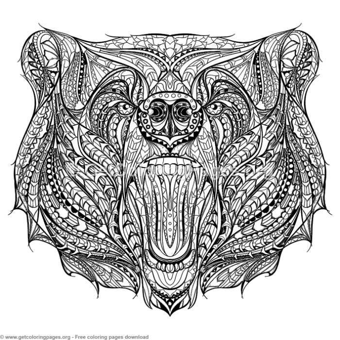 Patterned Zentangle Bear Coloring Pages Free Instant Download Coloring Coloringbook Coloringpages Ze Bear Coloring Pages Coloring Pages Bear Tattoo Designs