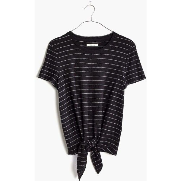MADEWELL Modern Tie-Front Top in Stripe ($42) ❤ liked on Polyvore featuring tops, true black, madewell, stretchy tops, shirt top, madewell shirts and striped shirt