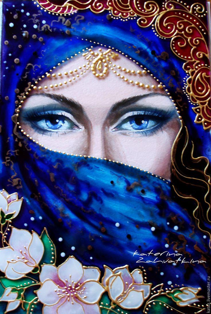 """Купить Картина на стекле """"Загадка Востока"""" - разноцветный, восток, восточная красавица, девушка, Глаза"""