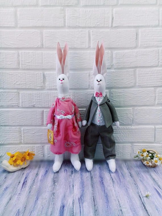 Tilda Bunny Couple White Textile toy Tilda bunny  Fabric