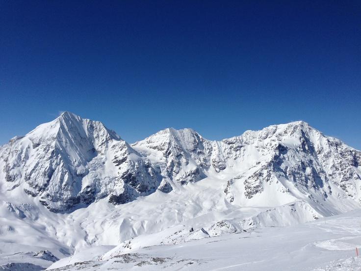 Das Dreigestirn Königsspitze, Zebru und Ortler schneebedeckt bei strahlendem Sonnenschein