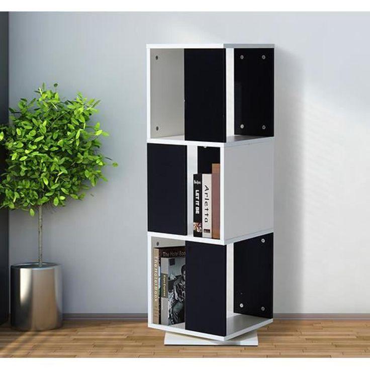 Bibliothèque / Armoire de rangement pour livre pivotante 3 étagères 34L x 34l x 108H cm couleur de bois neuf 04