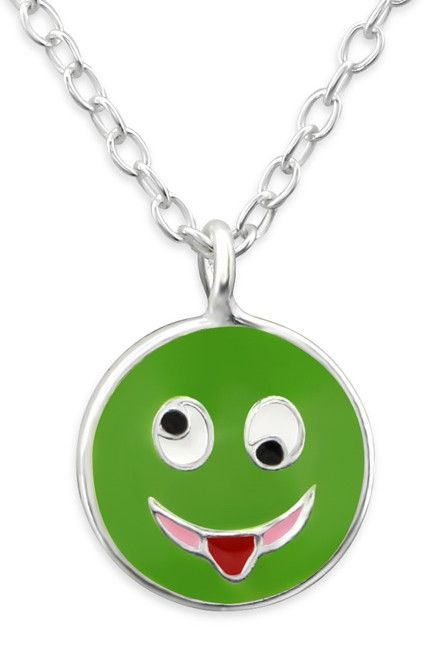Green Silly Face Emoji Necklace