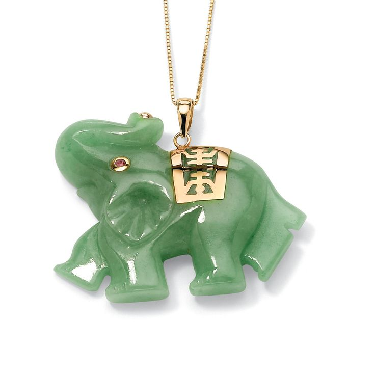 Green Jade Pink Genuine Sapphire Accent 14k Yellow Gold Lucky Elephant Charm Pendant: