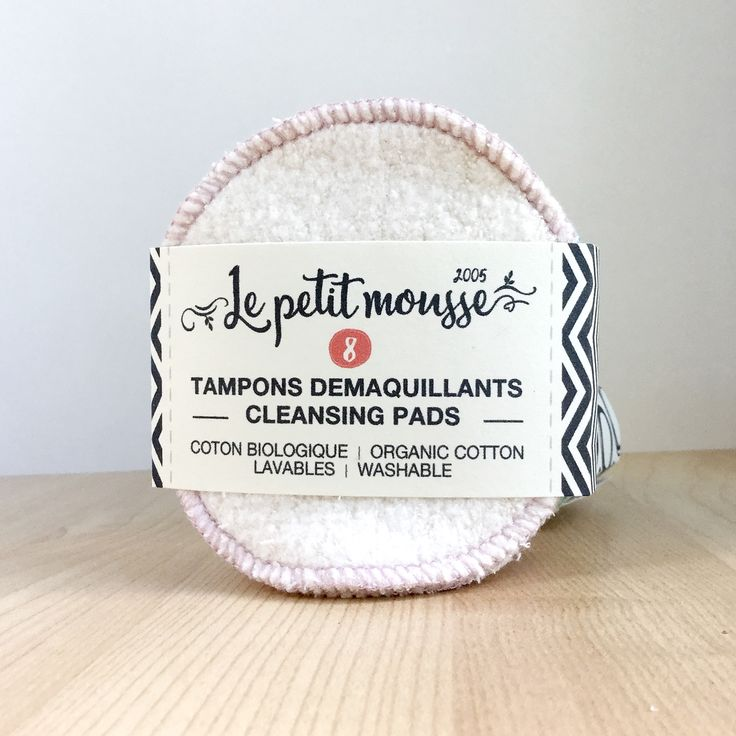 Reusable organic cotton facial rounds. Zero Waste, canadian made. www.lepetitmousse.com
