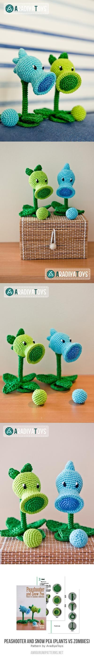 plants vs. zombies pea shooters. Found at Amigurumipatterns.net cost $2.99