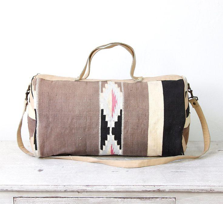 Kilim Ethnic Travel Bag Turkish Wool Leather Vintage