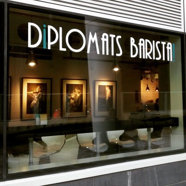 Some freshly fitted window vinyl's that we did for Diplomats Barista, Snowhill, Birmingham. HNS signs http://hnssigns.co.uk/