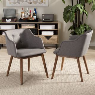Shop for Baxton Studio Hypatia Mid-century Modern Grey Fabric Walnut Wood Button-tufted Accent Chair (Set of 2). Get free shipping at Overstock.com - Your Online Furniture Outlet Store! Get 5% in rewards with Club O!