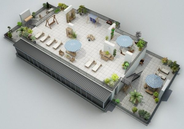 His final design is of a fully-functional rooftop patio that makes a great entertainment space for the potential residents of the building.