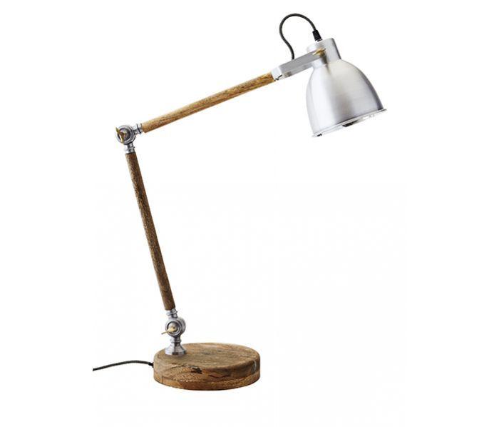 Bureaulamp Madam Stoltz aluminium-hout #madamstoltz