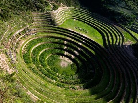 Ancient Inca terraces spiral across the land in Moray.#Repin By:Pinterest++ for iPad#