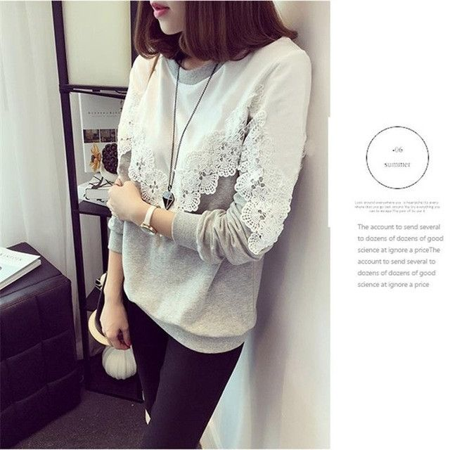 ShowMi Women Hoodies Sweatshirts Spring Autumn Thin White Grey Patchwork Crochet Long Sleeve Lace Hoodies Moletom feminino