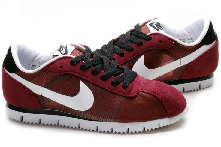 Red Nike Cortez Fly Motion Wine Suede White