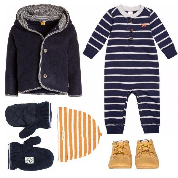 Meraviglioso outfit pensato per un bambino dagli 0 ai 2 anni: un comodo completino a righe, con tanto di cappello e guanti, per proteggersi con stile dal freddo invernale!