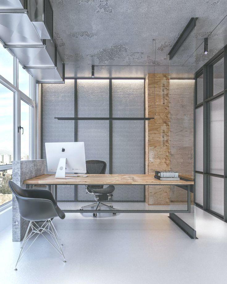 Industrial Office Features Exposed Bricks Concrete Ceilings Home Decor Design Office Interior Design Contemporary Office Design Modern Office Design