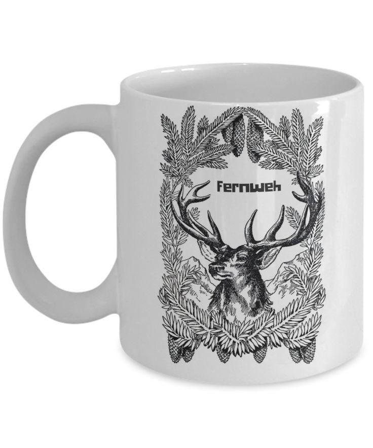 Fernweh deer coffee mug  #travel #fernweh #noveltymug #gifts #ForHim