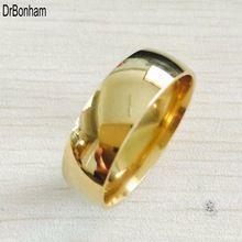 High polish ancho 8mm hombres de oro de la boda anillos Real de 22 K Oro lleno de 316L de Titanio anillos de dedo para los hombres NUNCA FADING EE. UU. tamaño 6-14
