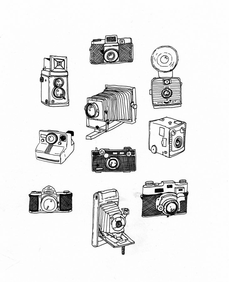 Pen and ink vintage camera drawing