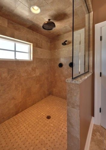 Walk in tile shower no door glass prefer the window to for Master bathroom no door