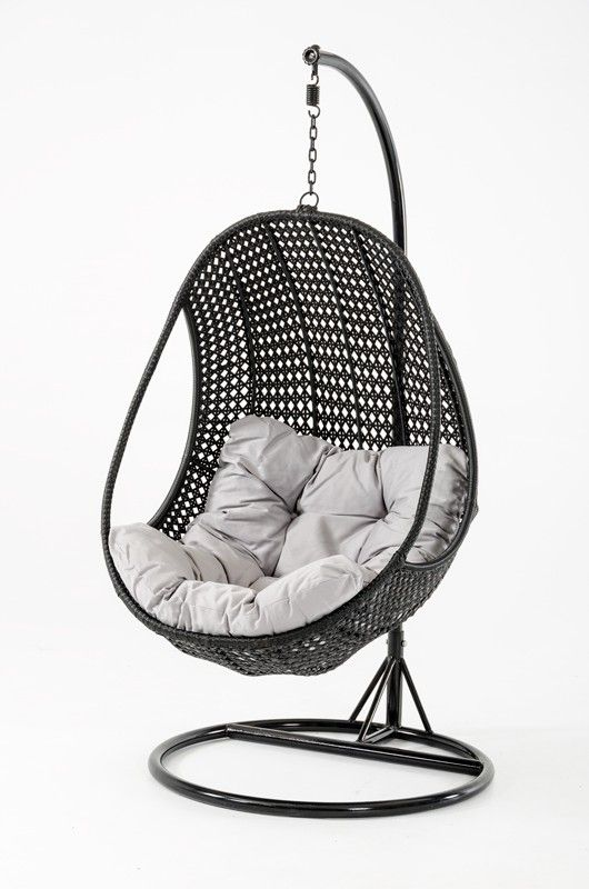 The Oahu Modern Outdoor Hanging Chair features a black weatherproof rattan, white cushions and black powder coated pole. Relax with a good book and enjoy the natural swinging motion of the Oahu. This unique pod shaped chair will add style and comfort to your outdoor space.