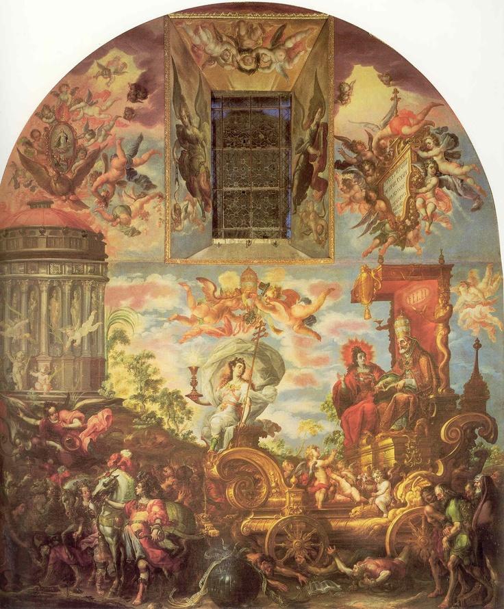 CRISTÓBAL DE VILLALPANDO. El triunfo de la religión. 1686. Óleo sobre tela. 899 x 766 cm. Sacristía Catedral Metropolitana. México D.F.