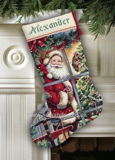 Buy Candy Cane Santa Stocking Cross Stitch Kit Online at www.sewandso.co.uk