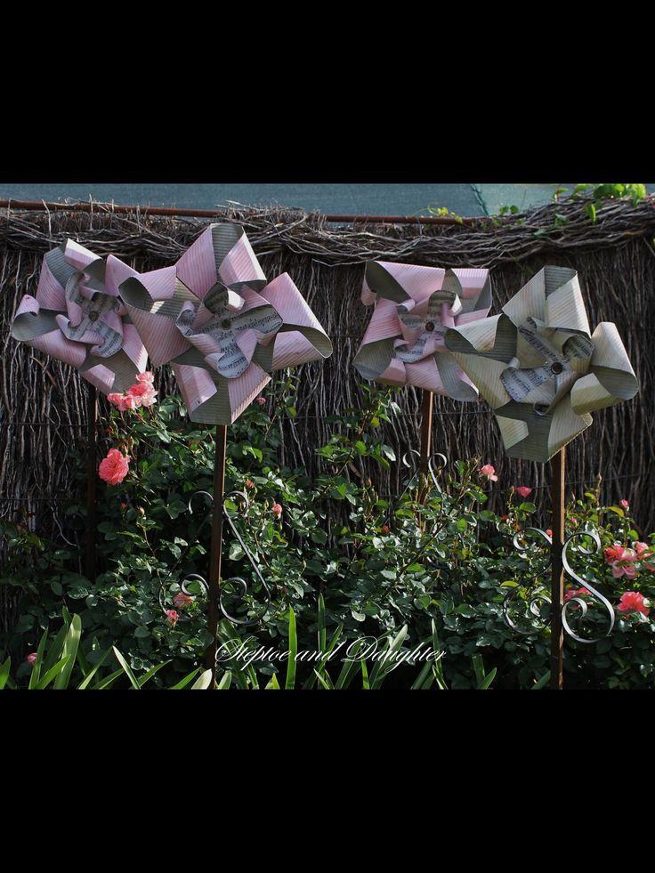 Handmade pinwheel flowers