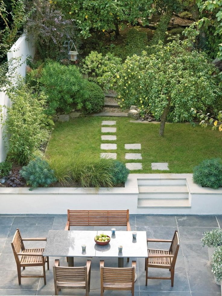 Three clearly defined spaces — a dining area, lawn and plantings, and a woodland beyond — eke a lot of function out of a relatively small amount of urban real estate. This design by Sara Jane Rothwell features walls, screens, levels, pathways and trees, creating a relationship of horizontal surfaces in distinct areas of the yard.