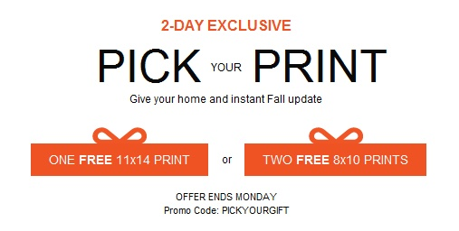 Get 1 Free 11x14 or 2 free 8x10's at Shutterfly through Monday, October 22, 2012! Just pay shipping. To get your free prints, just go here and enter shutterfly promo code PICKYOURGIFT.  New customers get 50 free prints!