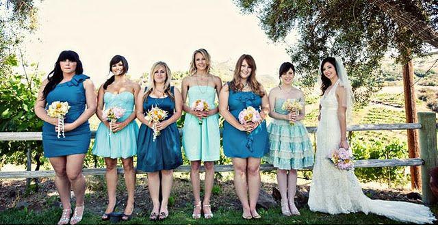 Photo via Green Wedding Shoes: Mismatched Bridesmaid Dresses, Wedding Ideas, Bridesmaids Dresses, Wedding Dress, Dream Wedding, Blue Bridesmaid Dresses, Blue Bridesmaids, Future Wedding