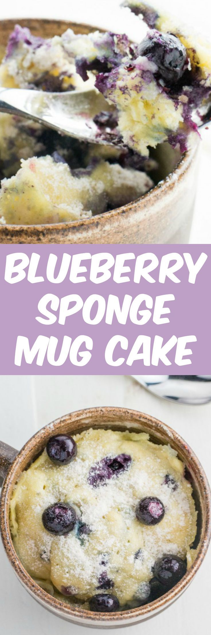 Single serving Blueberry Sponge Cake In A Mug recipe that takes 1 minute in the microwave to bake!