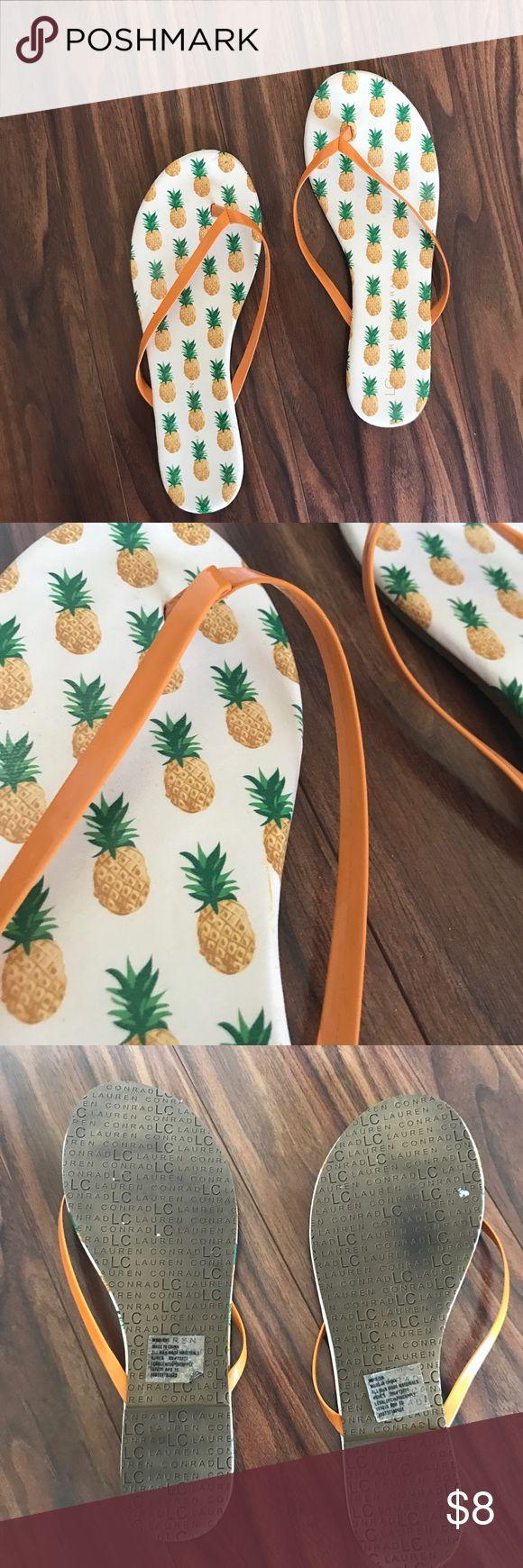⚡️FLASH SALE⚡️ Lauren Conrad pineapple flip flops Worn a handful of times. Cute pineapple flip flops by Lauren Conrads brand LC Lauren Conrad Shoes Sandals