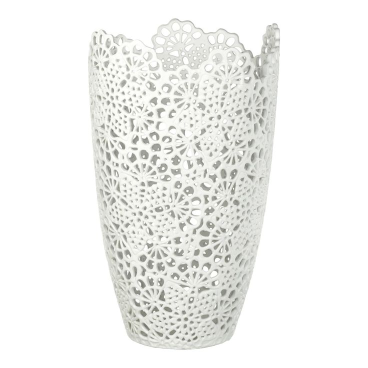 Large White Ceramic Aurora Lace Vase