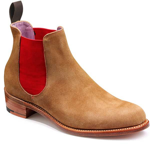 Barker Shoes – Violet – Ladies Chelsea Boots – Snuff Suede With Red Elastic. A stylish Chelsea boot featuring a coloured elastic gusset