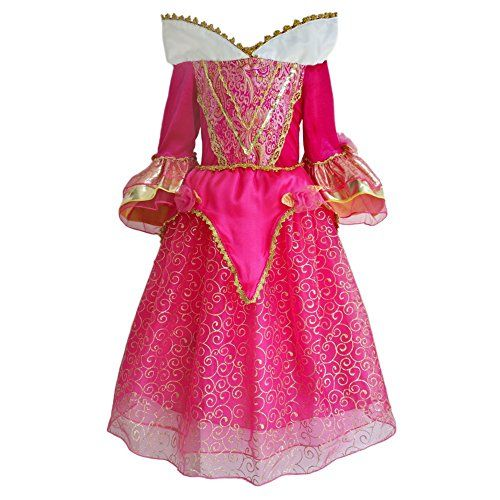 JiaDuo Girls Princess Aurora Dress Halloween Costumes 7-8 Pink