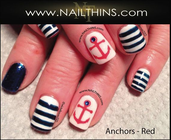 ANCHOR Nail Decal multi size Nautical Nail Design  by NAILTHINS, $3.65