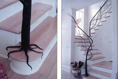 very neat!: Decor, Ideas, Stairs Railings, Staircases, Trees Railings, Cool Stairs, Dreams House, Trees Branches, Design