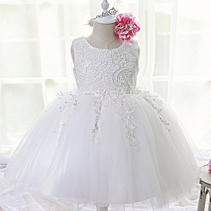 ファッションフォーマル新生児結婚式dress赤ちゃん女の子弓パターン用幼児1年の誕生日パーティー洗礼dress服