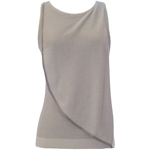 Pre-owned Emporio Armani White Sleeveless High Neck Drape Top... ($116) ❤ liked on Polyvore featuring tops, white, high neck sleeveless top, party tank tops, sleeveless tops, draped tank top and white singlet