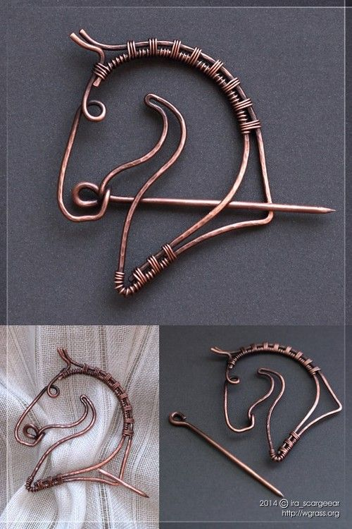 Horse brooch. Wirework, copper wire, liver of sulfur patina.
