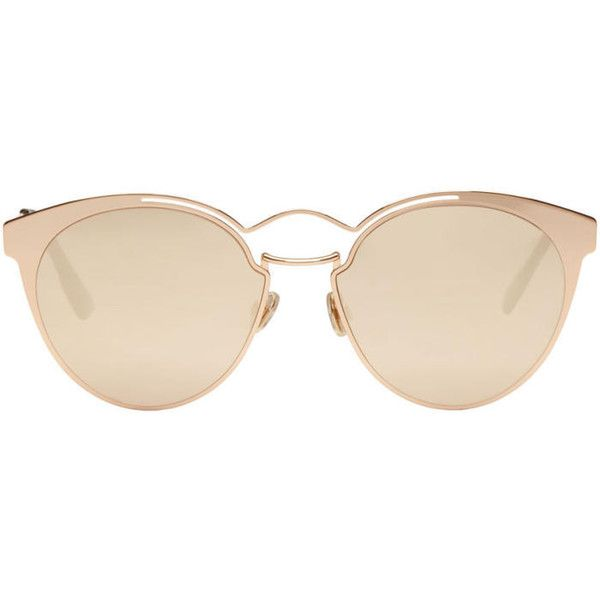 Dior Gold Nebula Sunglasses (6.567.200 IDR) ❤ liked on Polyvore featuring accessories, eyewear, sunglasses, glasses, gold, mirror lens sunglasses, gold sunglasses, nose pads glasses, transparent sunglasses and christian dior sunglasses