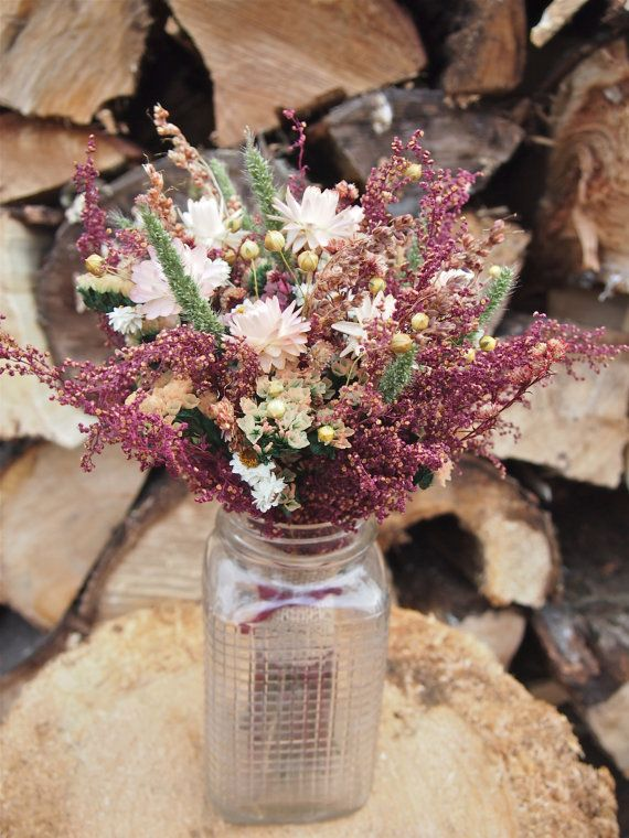 SHABBY and RUSTIC Bridesmaid Dried Flower Bouquet - Burgundy and Burlap Country Wedding