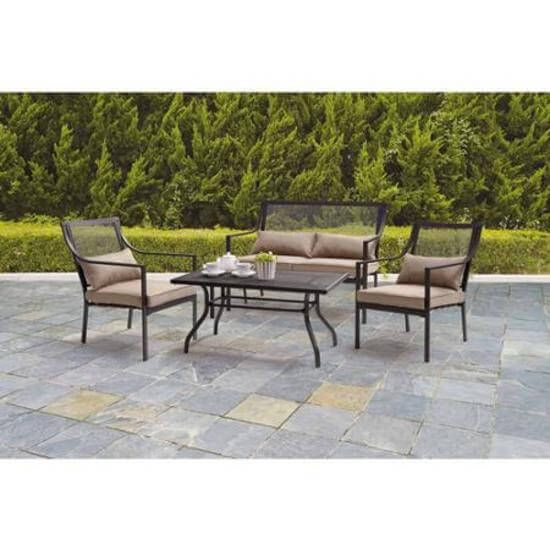 Conversation Patio Set 4Piece Chairs Loveseat Table Outdoor Garden Furniture NEW #1