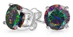 Bling Jewelry Round Simulated Rainbow Topaz Cz Stud Earrings 925 Sterling Silver 8mm.