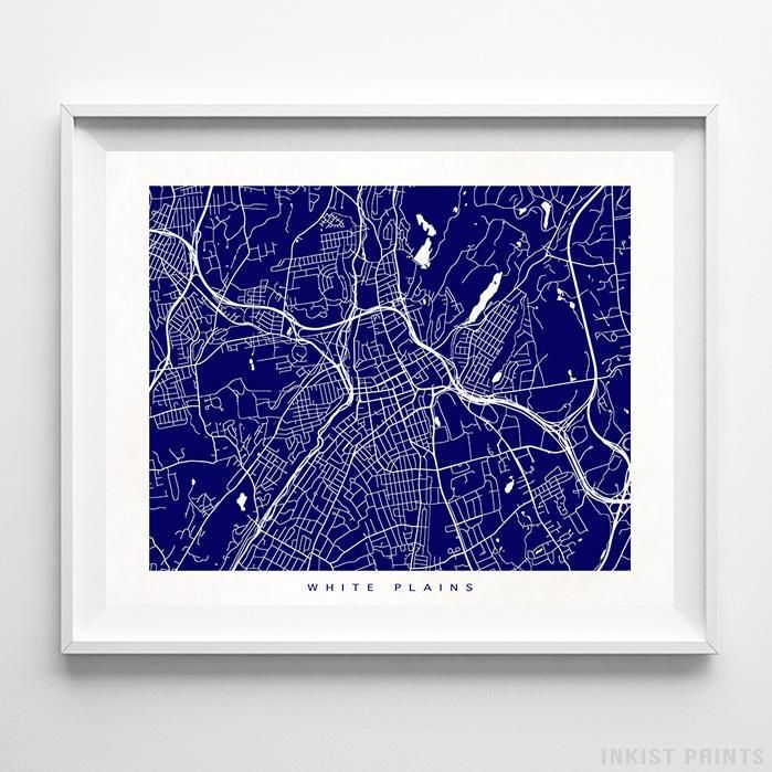 White Plains, New York Street Map Print